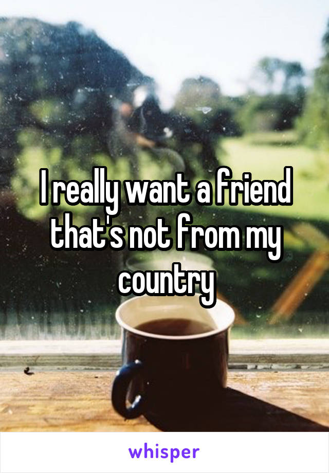 I really want a friend that's not from my country
