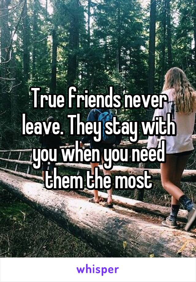 True friends never leave. They stay with you when you need them the most