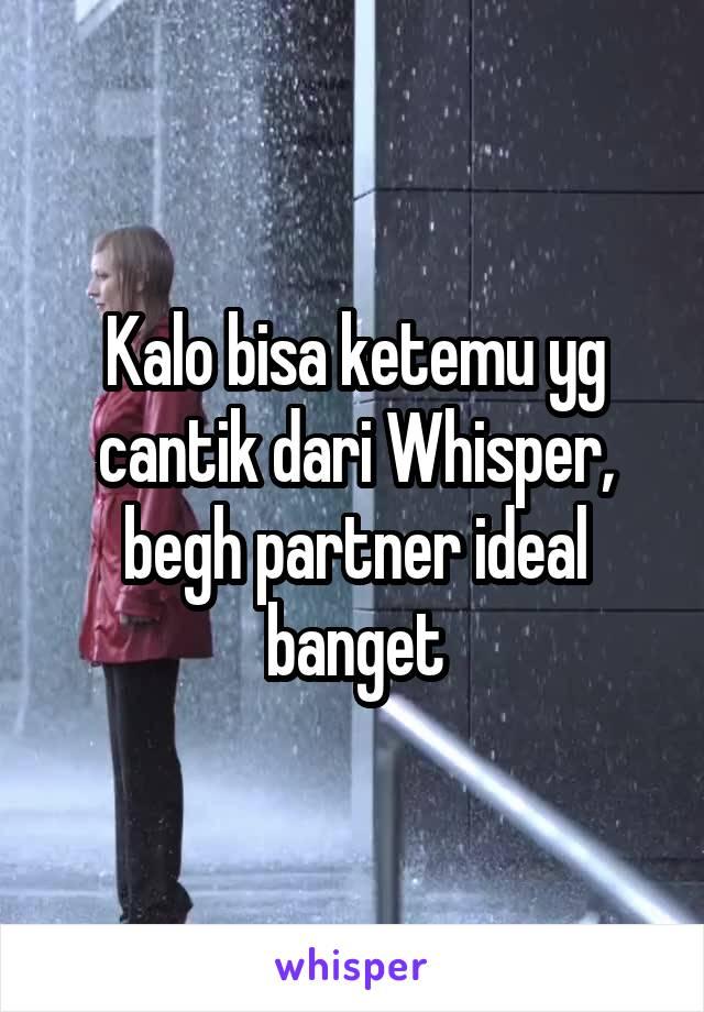 Kalo bisa ketemu yg cantik dari Whisper, begh partner ideal banget
