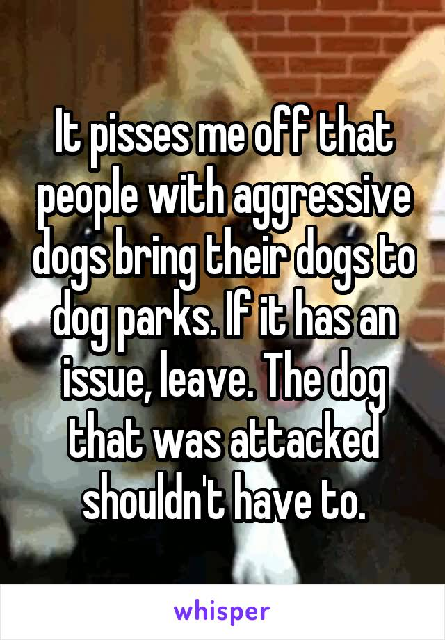 It pisses me off that people with aggressive dogs bring their dogs to dog parks. If it has an issue, leave. The dog that was attacked shouldn't have to.