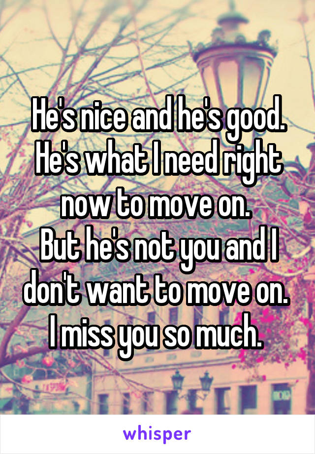 He's nice and he's good. He's what I need right now to move on.  But he's not you and I don't want to move on.  I miss you so much.