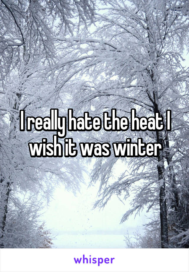 I really hate the heat I wish it was winter