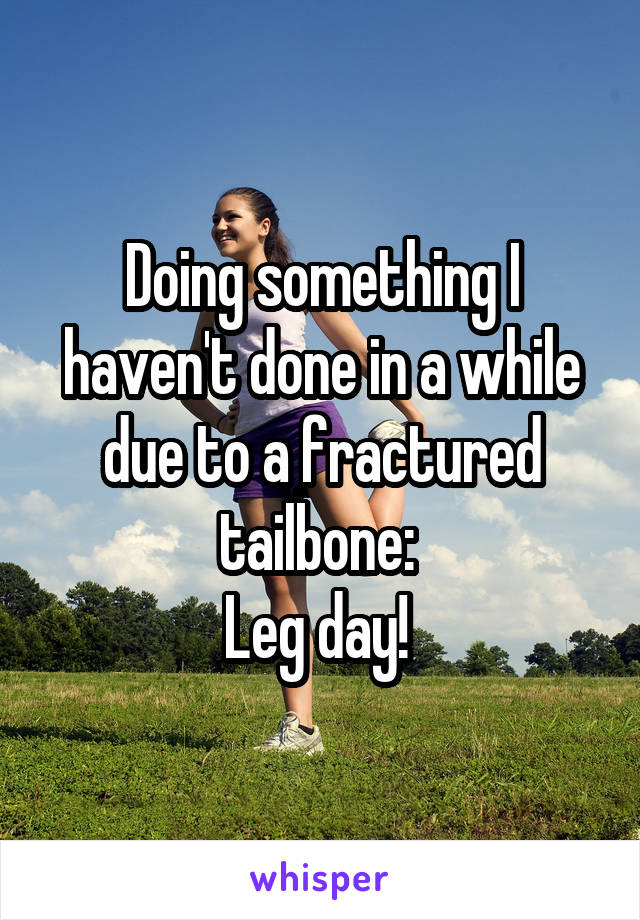 Doing something I haven't done in a while due to a fractured tailbone:  Leg day!