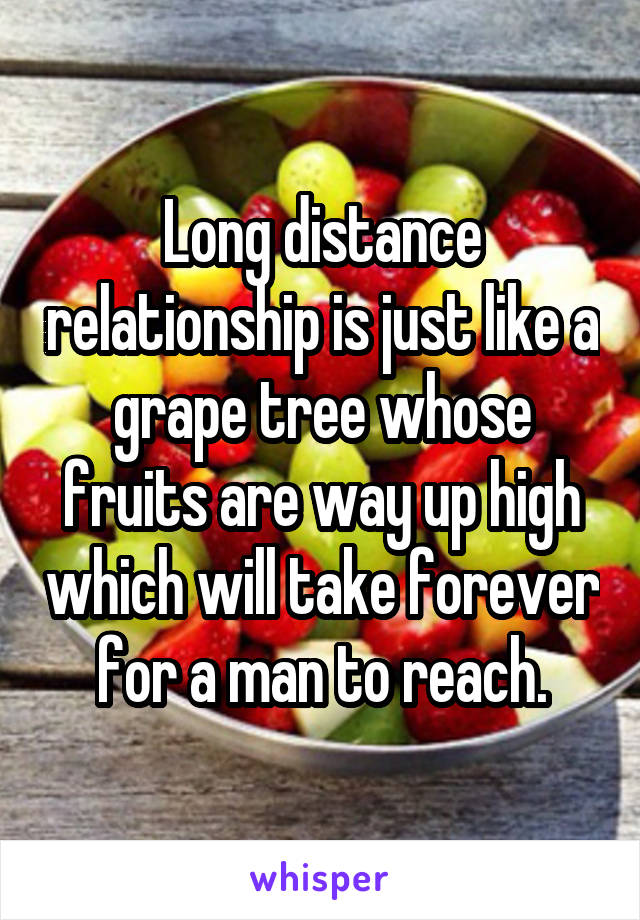 Long distance relationship is just like a grape tree whose fruits are way up high which will take forever for a man to reach.