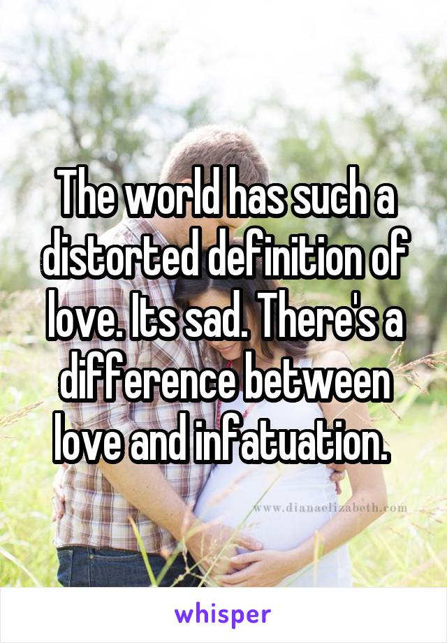 The world has such a distorted definition of love. Its sad. There's a difference between love and infatuation.