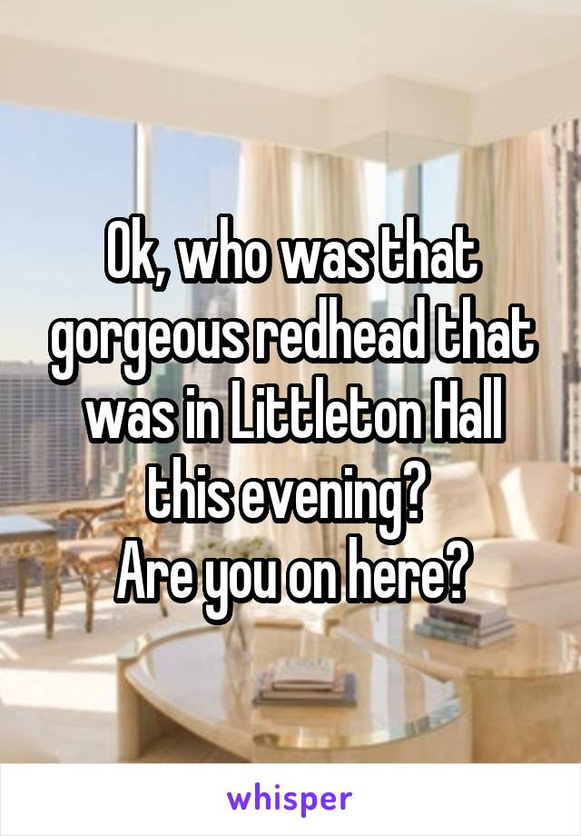 Ok, who was that gorgeous redhead that was in Littleton Hall this evening?  Are you on here?