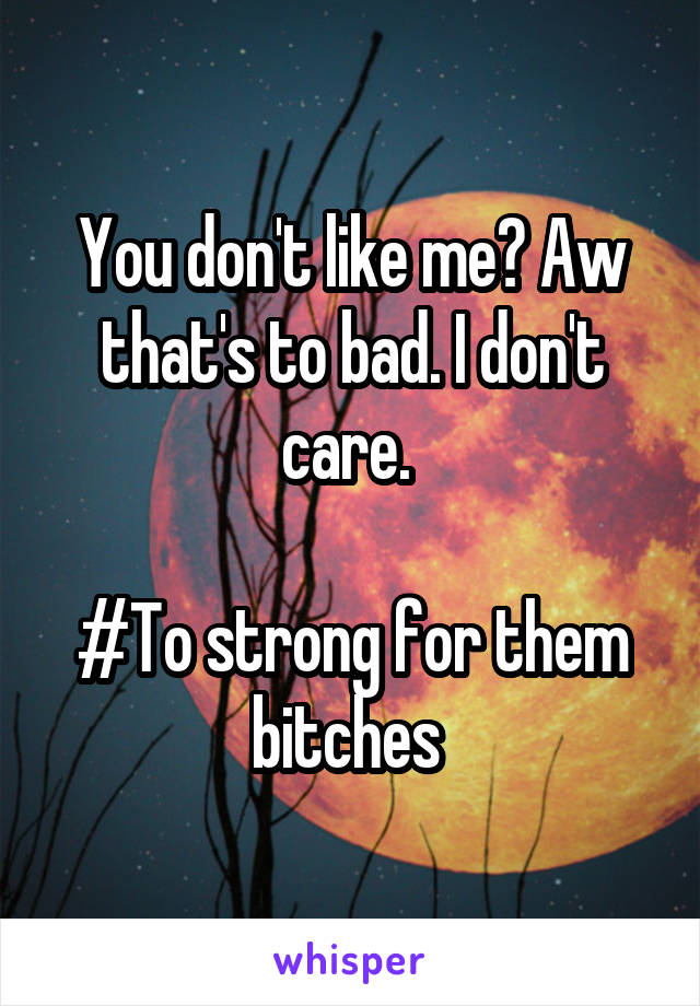 You don't like me? Aw that's to bad. I don't care.   #To strong for them bitches