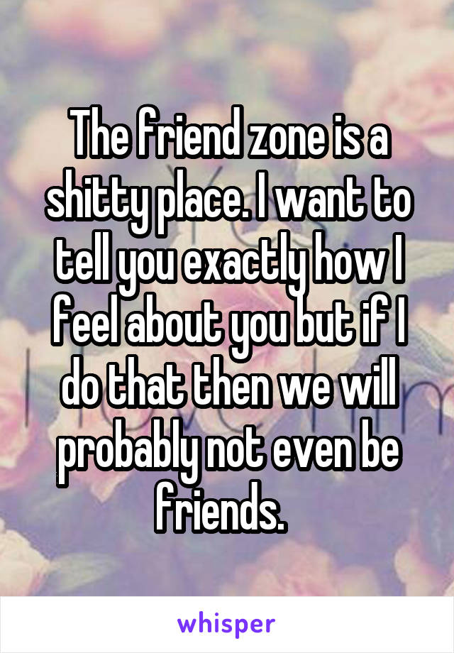 The friend zone is a shitty place. I want to tell you exactly how I feel about you but if I do that then we will probably not even be friends.