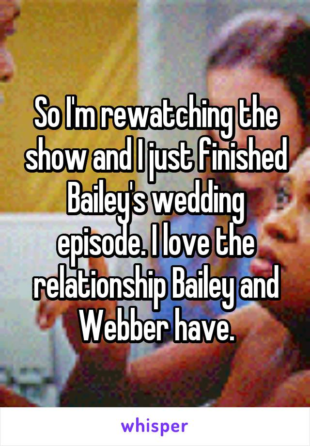 So I'm rewatching the show and I just finished Bailey's wedding episode. I love the relationship Bailey and Webber have.