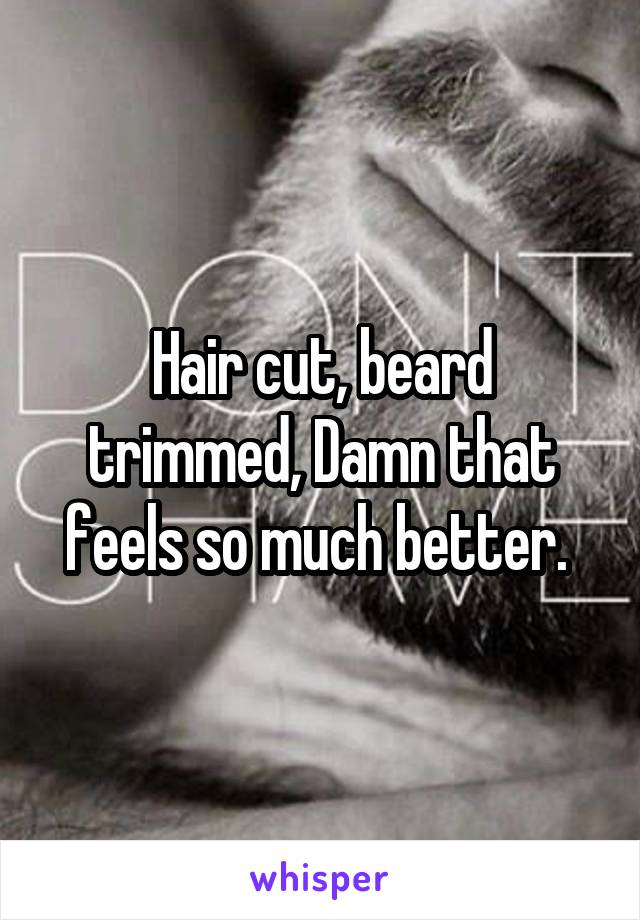Hair cut, beard trimmed, Damn that feels so much better.