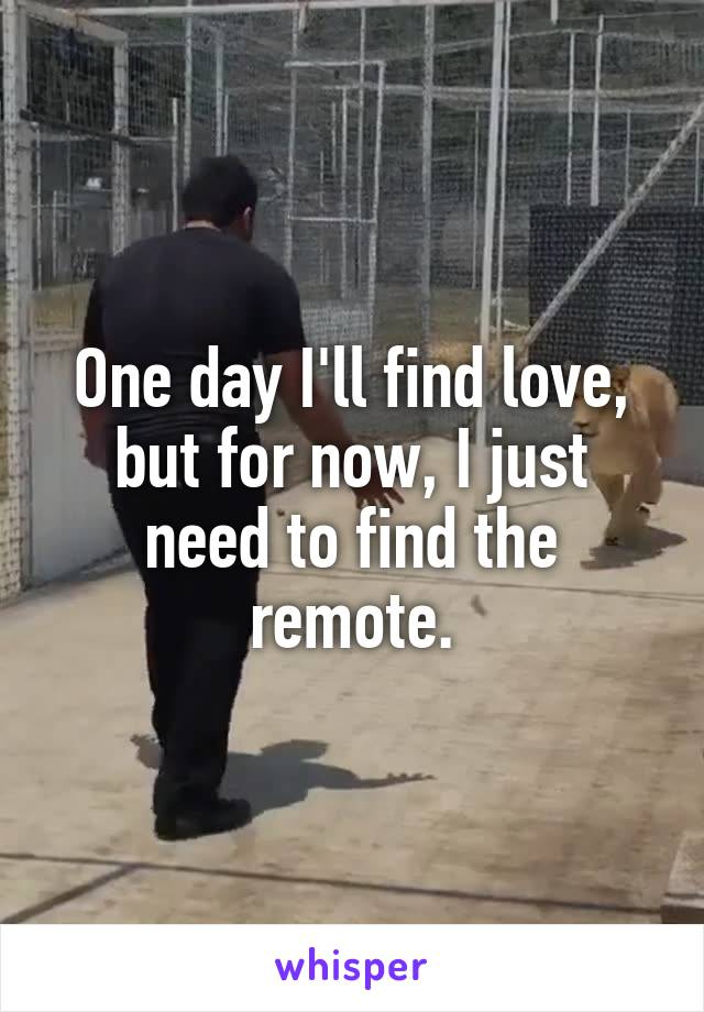One day I'll find love, but for now, I just need to find the remote.