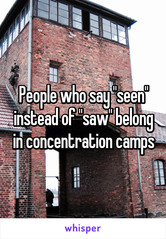 """People who say """"seen"""" instead of """"saw"""" belong in concentration camps"""