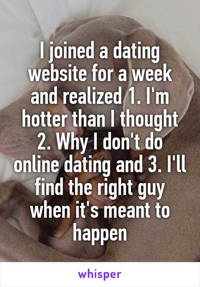 I joined a dating website for a week and realized 1. I'm hotter than I thought 2. Why I don't do online dating and 3. I'll find the right guy when it's meant to happen