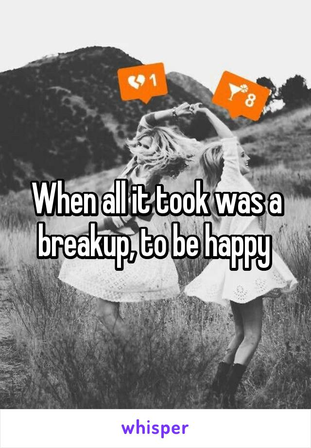 When all it took was a breakup, to be happy