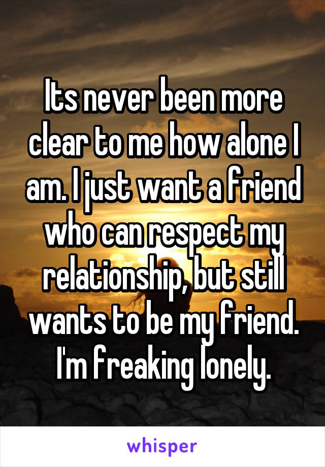 Its never been more clear to me how alone I am. I just want a friend who can respect my relationship, but still wants to be my friend. I'm freaking lonely.