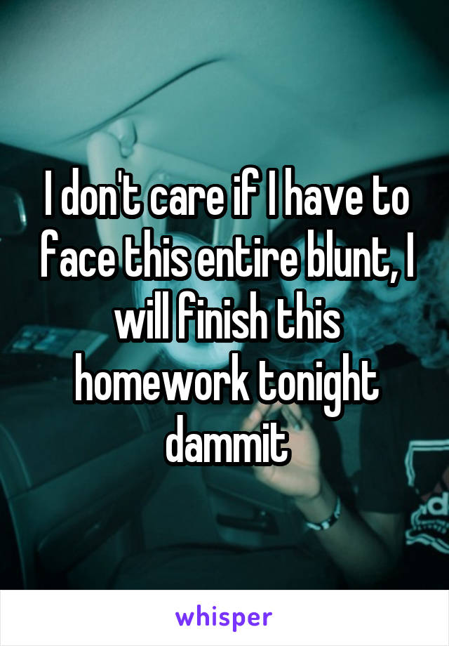 I don't care if I have to face this entire blunt, I will finish this homework tonight dammit