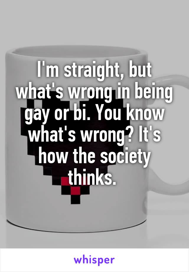 I'm straight, but what's wrong in being gay or bi. You know what's wrong? It's how the society thinks.