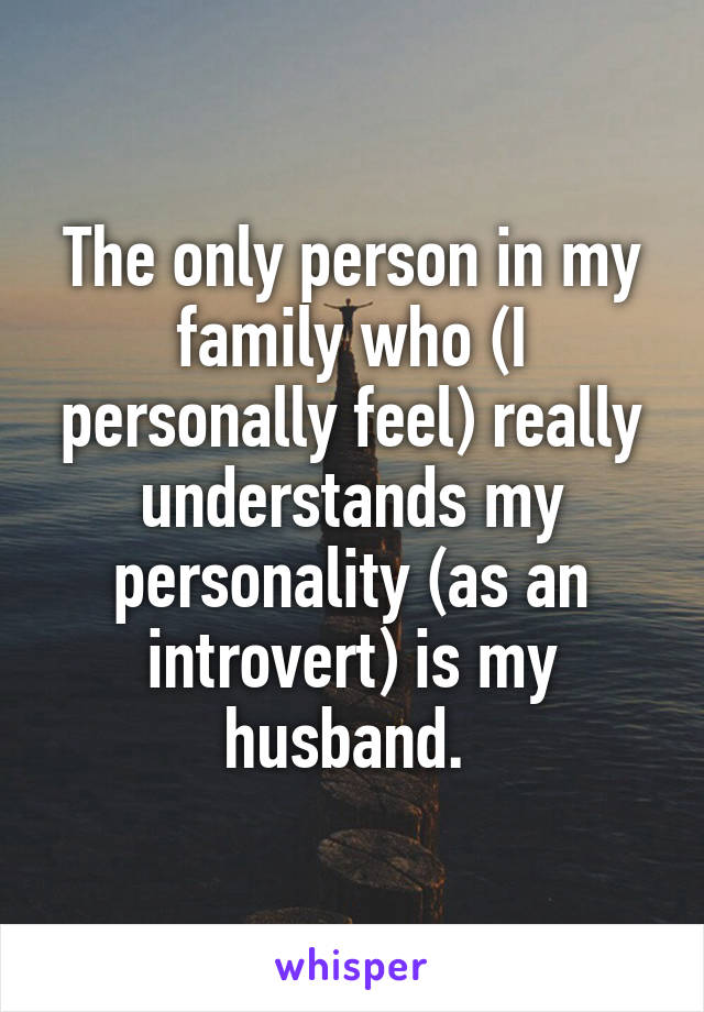 The only person in my family who (I personally feel) really understands my personality (as an introvert) is my husband.