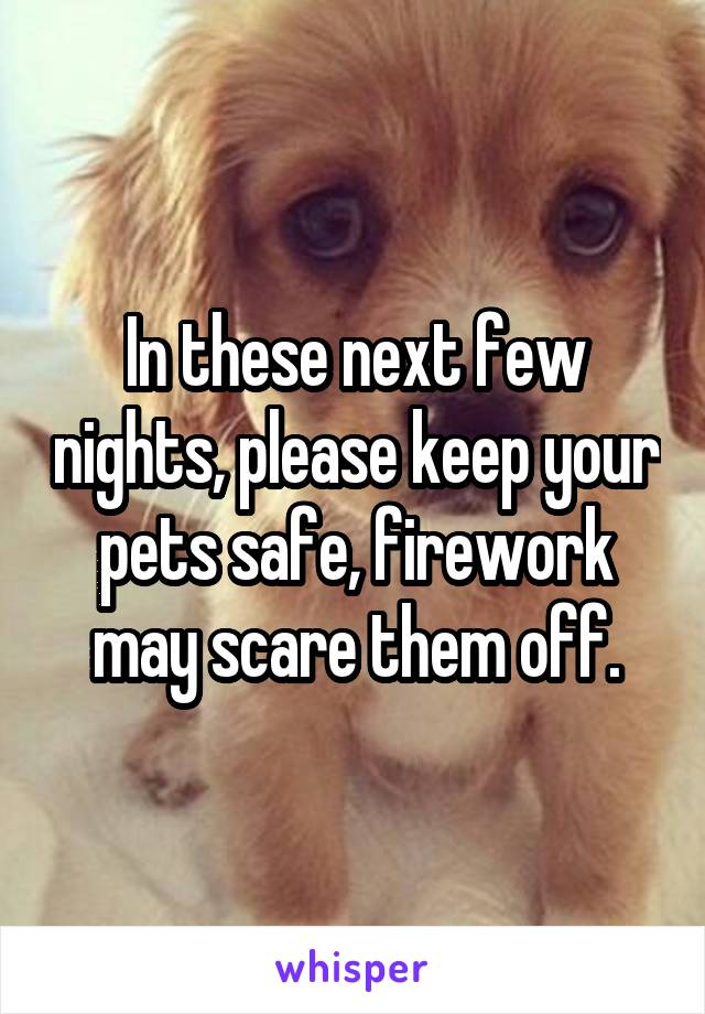 In these next few nights, please keep your pets safe, firework may scare them off.