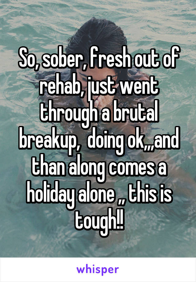 So, sober, fresh out of rehab, just went through a brutal breakup,  doing ok,,,and than along comes a holiday alone ,, this is tough!!