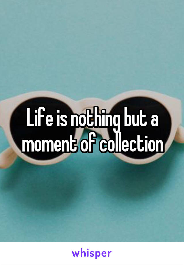 Life is nothing but a moment of collection