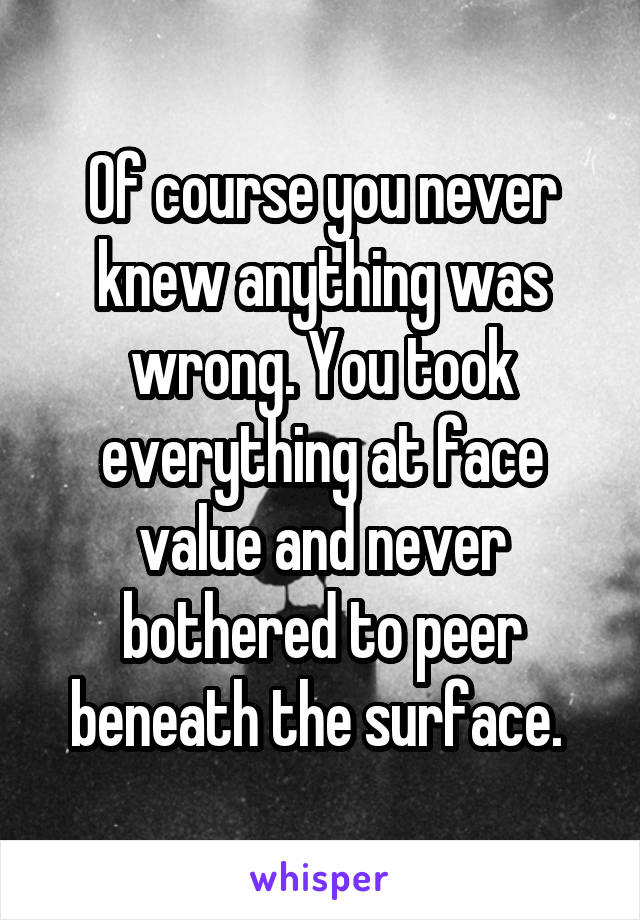 Of course you never knew anything was wrong. You took everything at face value and never bothered to peer beneath the surface.