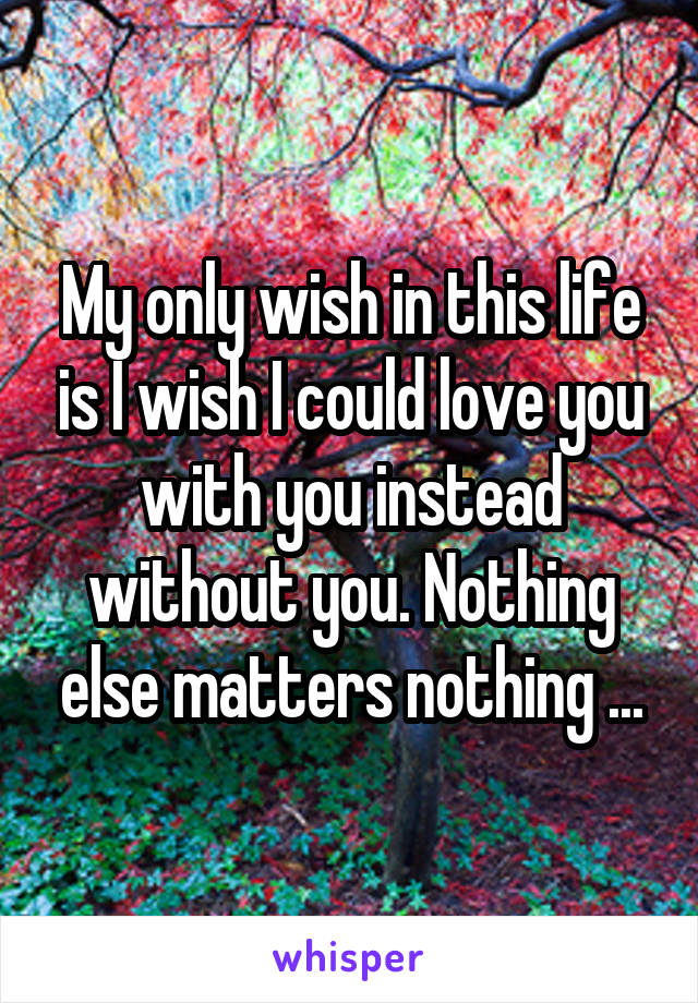 My only wish in this life is I wish I could love you with you instead without you. Nothing else matters nothing ...