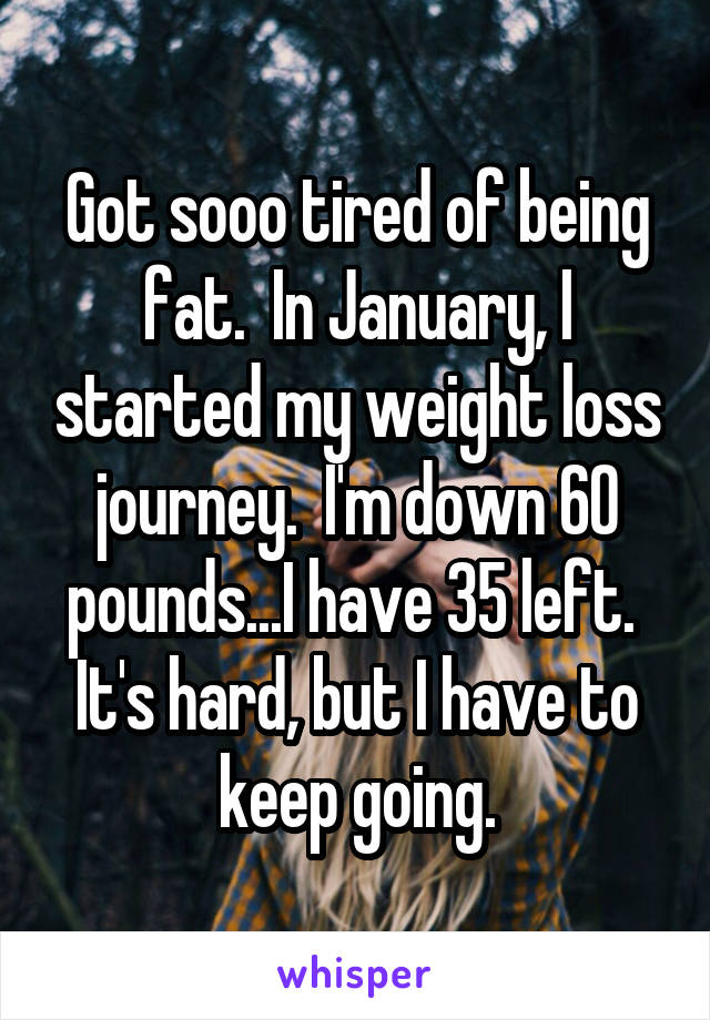 Got sooo tired of being fat.  In January, I started my weight loss journey.  I'm down 60 pounds...I have 35 left.  It's hard, but I have to keep going.