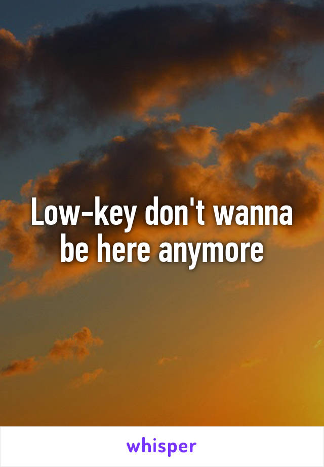 Low-key don't wanna be here anymore