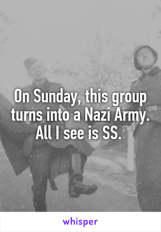 On Sunday, this group turns into a Nazi Army. All I see is SS.