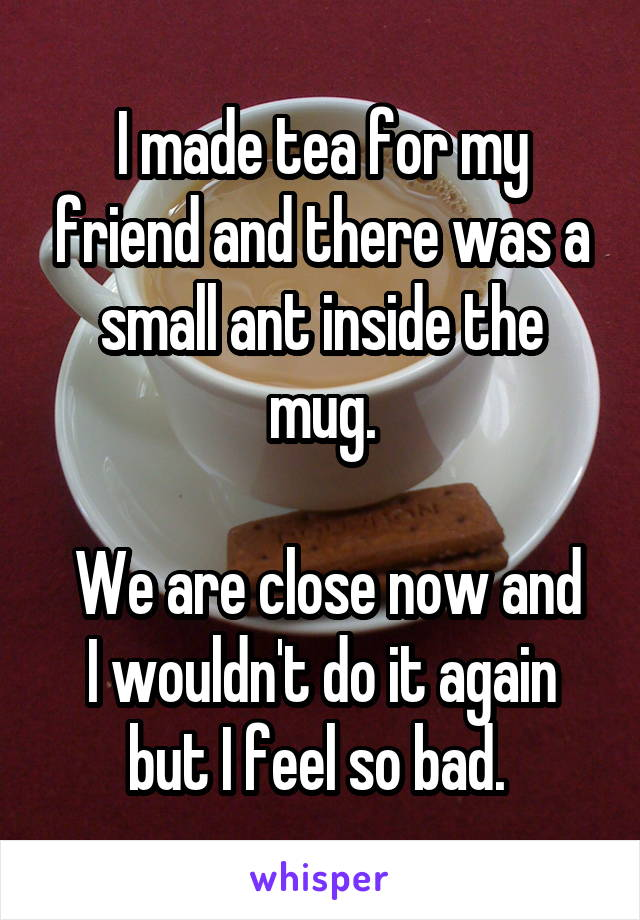 I made tea for my friend and there was a small ant inside the mug.   We are close now and I wouldn't do it again but I feel so bad.