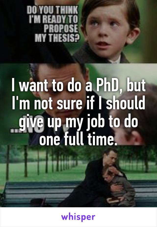 I want to do a PhD, but I'm not sure if I should give up my job to do one full time.