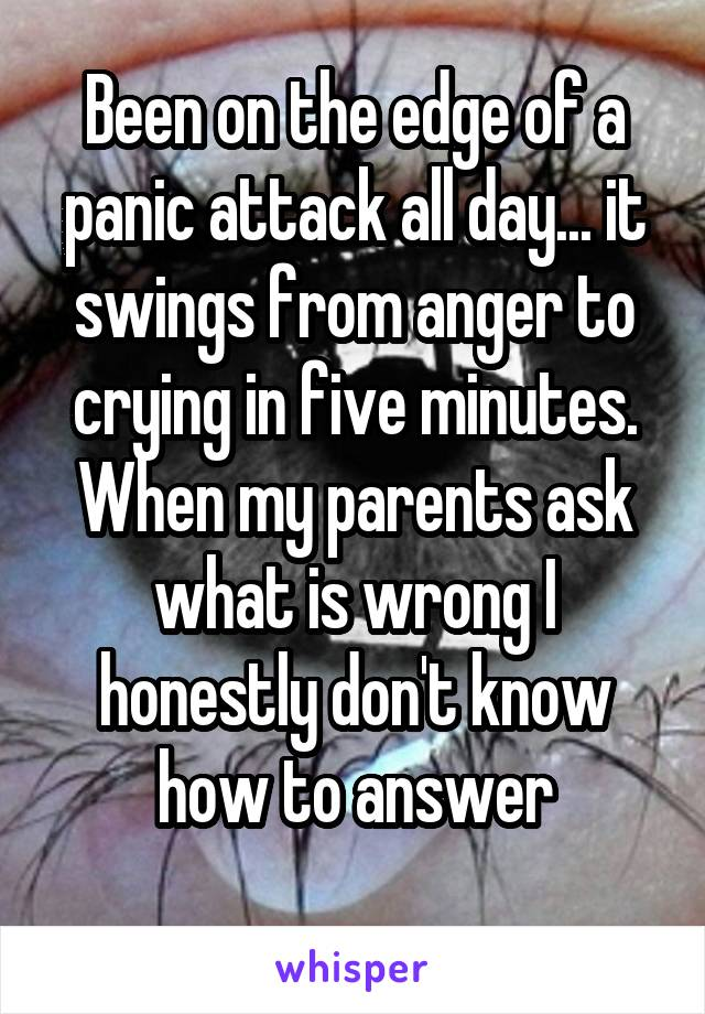 Been on the edge of a panic attack all day... it swings from anger to crying in five minutes. When my parents ask what is wrong I honestly don't know how to answer