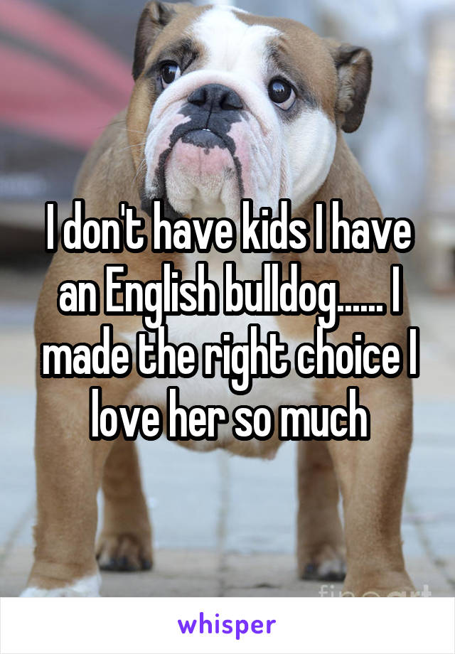 I don't have kids I have an English bulldog...... I made the right choice I love her so much