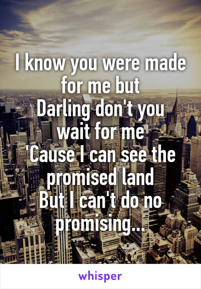 I know you were made for me but Darling don't you wait for me 'Cause I can see the promised land But I can't do no promising...