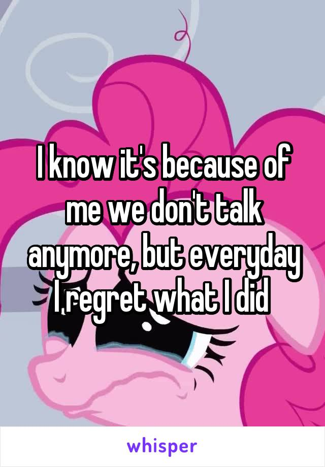 I know it's because of me we don't talk anymore, but everyday I regret what I did