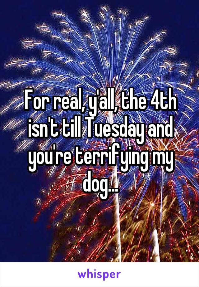 For real, y'all, the 4th isn't till Tuesday and you're terrifying my dog...