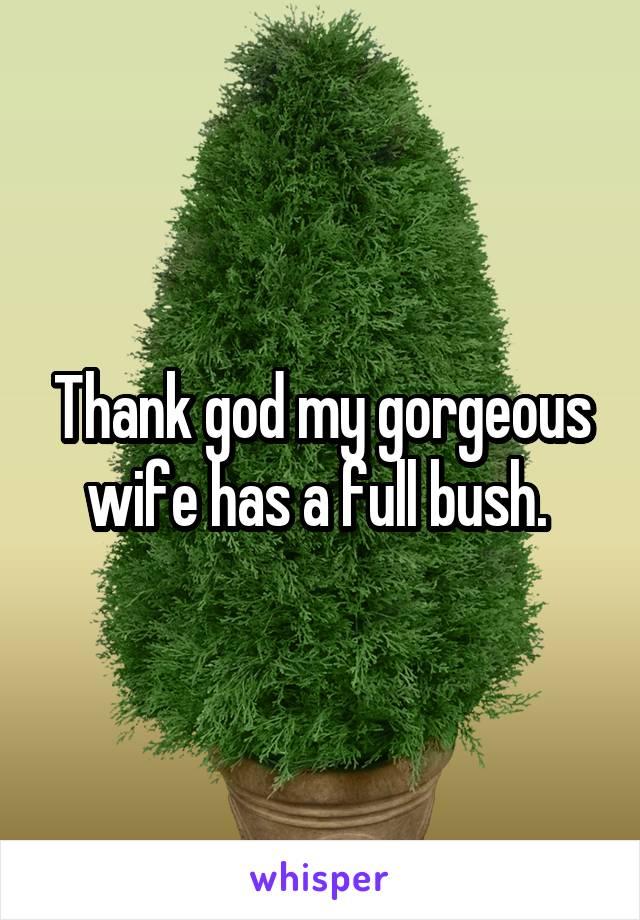 Thank god my gorgeous wife has a full bush.