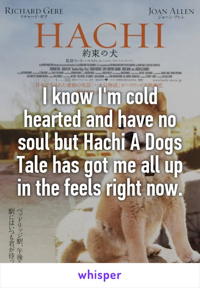 I know I'm cold hearted and have no soul but Hachi A Dogs Tale has got me all up in the feels right now.