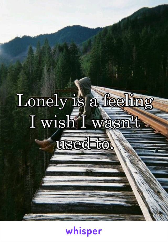 Lonely is a feeling I wish I wasn't used to.