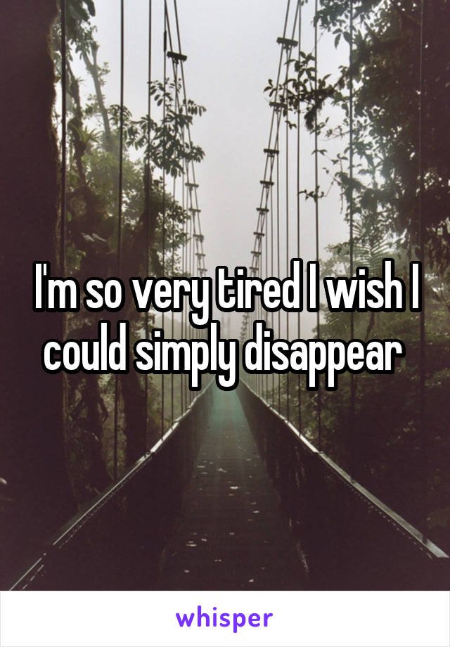 I'm so very tired I wish I could simply disappear