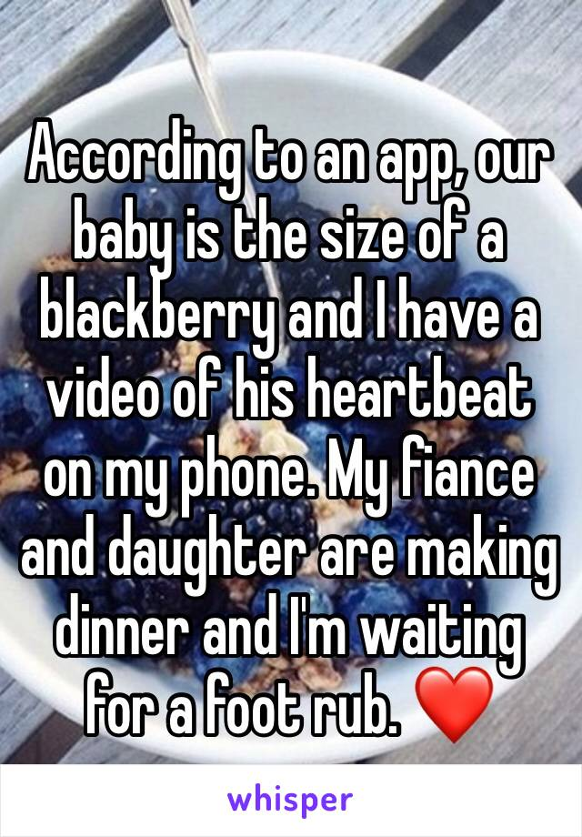 According to an app, our baby is the size of a blackberry and I have a video of his heartbeat on my phone. My fiance and daughter are making dinner and I'm waiting for a foot rub. ❤️