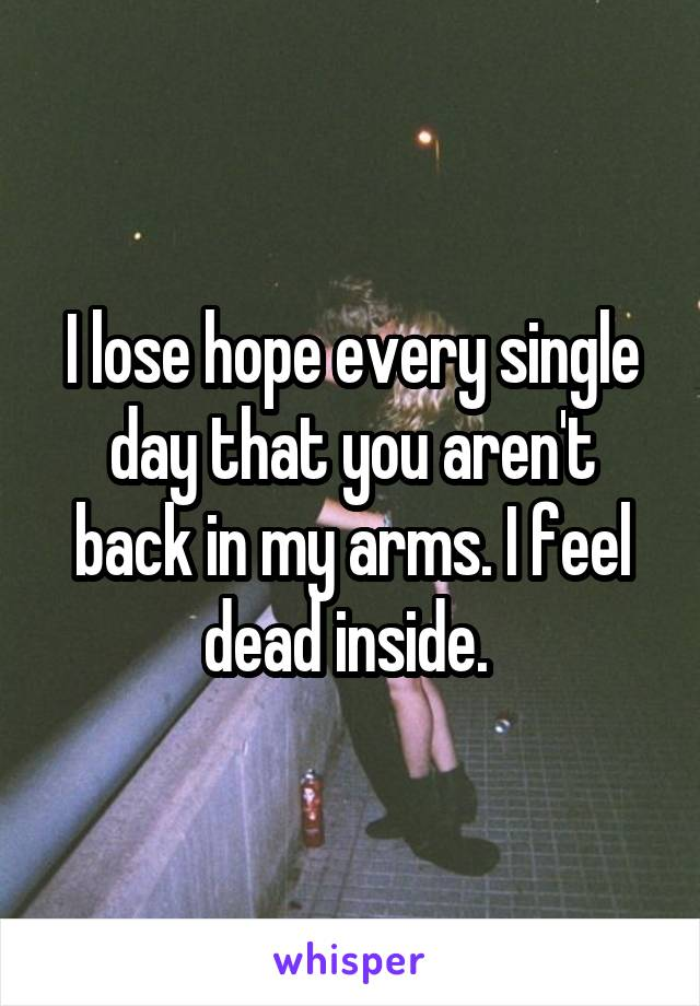 I lose hope every single day that you aren't back in my arms. I feel dead inside.
