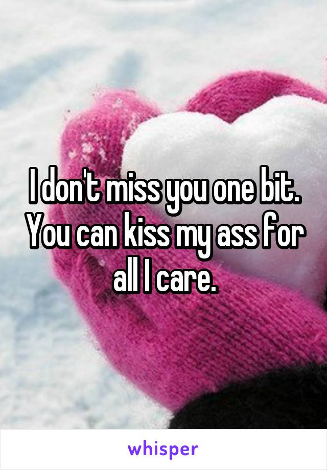 I don't miss you one bit. You can kiss my ass for all I care.