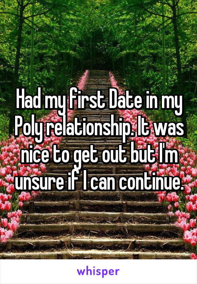 Had my first Date in my Poly relationship. It was nice to get out but I'm unsure if I can continue.