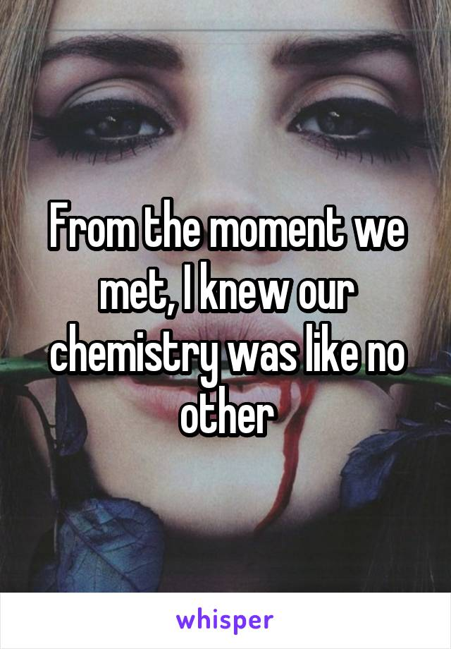 From the moment we met, I knew our chemistry was like no other