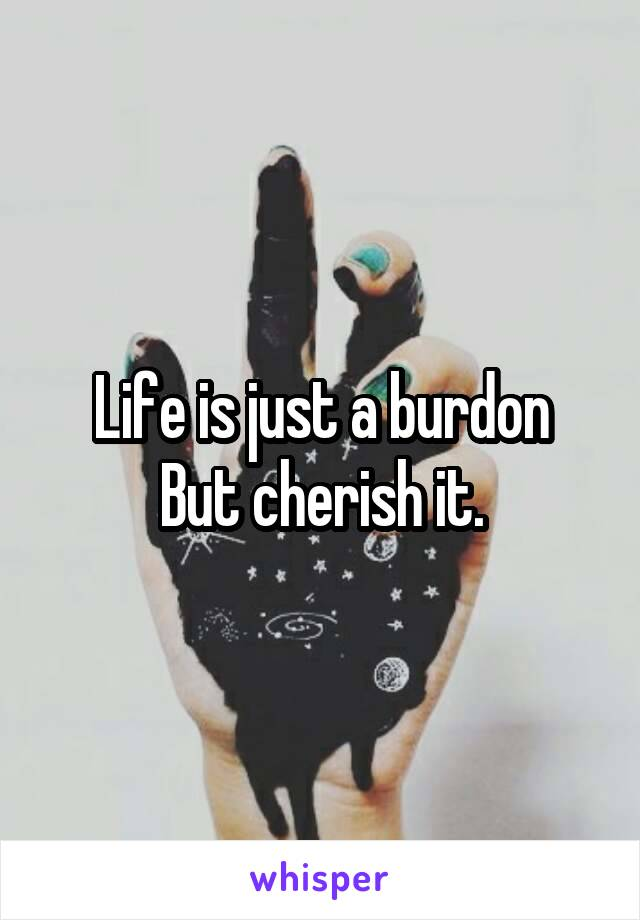 Life is just a burdon But cherish it.