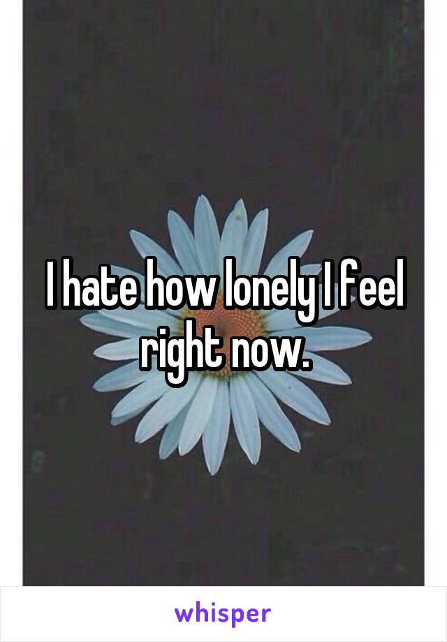 I hate how lonely I feel right now.