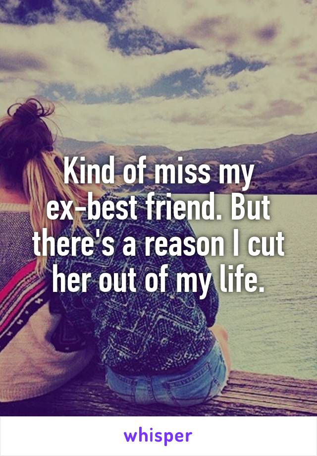 Kind of miss my ex-best friend. But there's a reason I cut her out of my life.