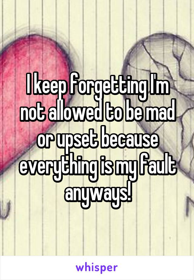 I keep forgetting I'm not allowed to be mad or upset because everything is my fault anyways!